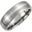 Titanium/Sterling Silver 08.50 07.00 MM SATIN AND POLISHED SS INLAY BAND