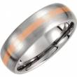 Titanium 09.00 07.00 MM SATIN 14kt ROSE GOLD INLAY DOMED BAND
