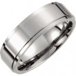Titanium SIZE 08.50 7.00 MM POLISHED RIDGED BAND