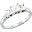 14kt White Engagement Complete with Stone SI2-SI3 Square 04.50X04.50 MM Diamond Polished 1CTW DIA 3 STONE ENG RING