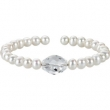 NONE CRYSTAL & WHITE PEARL NONE 7.5 INCH CUFF BRACELET