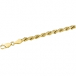 14kt White 7 INCH Polished DIA CUT ROPE CHAIN (REP CH515)