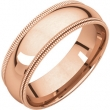 14kt Rose 06.00 mm Comfort Fit Double Milgrain Band