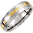 Titanium/14kt Yellow 08.00 06.00 MM POLISHED 14kt GOLD INLAY SATIN DOMED BND