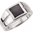Sterling Silver 10.00X10.00 mm Polished Mens Genuine Onyx Ring