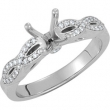 14kt White Engagement Semi-Mount with Head SI2-SI3 Round 06.50 MM Polished 1/8 CTW SEMI-MOUNT ENG RING