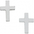 14kt White Earrings Complete No Setting 07.00X05.00 mm Pair Polished Cross Earring with Backs