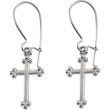 14kt White PAIR 14.00X09.00 MM Polished EARWIRE WITH CROSS