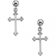 14kt Yellow PAIR 14.00X09.00 MM Polished CROSS BALL DANGLE EARRING