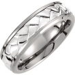 Titanium/Sterling Silver SIZE 08.00 07.00 MM POLISHED WEAVE BAND W/ STER INLAY