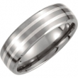 Titanium/Sterling Silver 07.50 7MM SATIN/POLISHED SILVER INLAY DOMED BAND