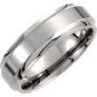 Titanium SIZE 08.50 07.00 MM SATIN/POLISHED RIDGED BAND