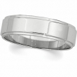 14kt White 07.00 mm Flat Edge Band
