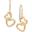 14kt Yellow 16.50X9.50 MM PAIR Polished METAL HOOK HEART EARRING