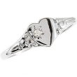 14kt White SIZE 03.00 Polished YOUTH HEART W/DIAMOND