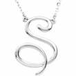 "14kt White S 16"" Polished SCRIPT INITIAL NECKLACE"