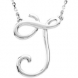"14kt White J 16"" Polished SCRIPT INITIAL NECKLACE"