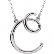 "14kt White C 16"" Polished SCRIPT INITIAL NECKLACE"