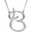 "14kt White B 16"" Polished SCRIPT INITIAL NECKLACE"