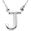 "14kt White J 16"" Polished BLOCK INITIAL NECKLACE"