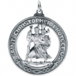 Sterling Silver 28.50 MM MEDAL ONLY Polished ST. CHRISTOPHER MEDAL W/OUT CH