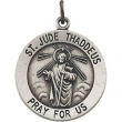 Sterling Silver 18.50 MM MEDAL ONLY Polished ST. JUDE MEDAL W/OUT CHAIN