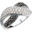 14kt White 1 CT TW Polished BLACK & WHITE DIAMOND RING