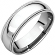 10kt White 06.00 mm Comfort Fit Double Milgrain Band