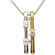 14kt White/14kt Yellow with Rhodium 1/10 CT TW Polished TWO TONE DIAMOND NECKLACE