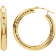 14kt Yellow Earring Complete No Setting 20.00 mm Pair Polished Tube Hoop Earrings