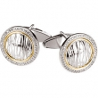 Sterling Silver & 14kt Yellow 1/2 CT TW PAIR Polished DIAMOND CUFF LINKS