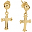 14kt Yellow PAIR 11.00X08.00 MM Polished CROSS BALL DANGLE EAR W/BACK