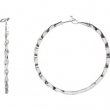 14kt White PAIR 1 1/5 CTTW Polished DIAMOND HOOP EARRING