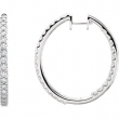 14kt White 3 CTW Pair 3CTW Diamond Inside-Outside Hoop Earrings