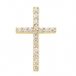 14kt Yellow 1/3 CTTW PENDANT Polished PETITE DIAMOND CROSS
