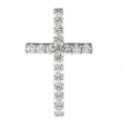 14kt White 1/3 CTTW PENDANT Polished PETITE DIAMOND CROSS