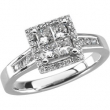 14kt White ENGAGEMENT COMPLETE WITH STONES 7/8 CT TW Polished NONE