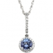 14KW 06.00 MM/1/5 CT TW P GEN TANZANITE & DIA PENDANT