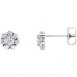 14kt White Complete with Stone Diamond 03.20 mm Pair Polished 3/4 CTW Diamond Earrings