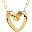 14kt Yellow NECKLACE Complete No Setting 15.00 INCH Polished YOUTH RIBBON HRT PEND W/CHAIN