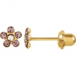14kt Yellow JUNE 03.00X03.00 MM Polished FLOWER BIRTHSTONE EARRING