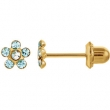 14kt Yellow MARCH 03.00X03.00 MM Polished FLOWER BIRTHSTONE EARRING