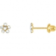 14kt Yellow FEBRUARY 03.00X03.00 MM Polished FLOWER BIRTHSTONE EARRINGS