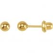 Yellow Plated 04.00 MM Polished INVERNESS BALL EARRING