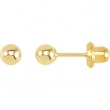 14kt Yellow 04.00 MM Polished INVERNESS BALL EARRING