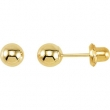 14kt Yellow 05.00 MM Polished INVERNESS BALL EARRING
