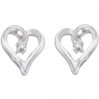 14kt White PAIR .04 CT TW Polished DIAMOND HEART EARRING