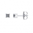 14kt White Complete with Stone Diamond 1/4 CTW 02.68-02.87 MM I1 G-H Friction Pair Polished PRINCESS DIAMOND STUD EARRING