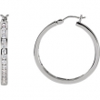 14kt White PAIR 1 CT TW Polished DIAMOND HOOP EARRING