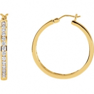 Picture of 14kt Yellow PAIR 1 CT TW Polished DIAMOND HOOP EARRING